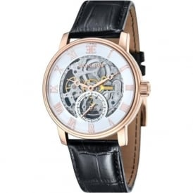 ES-8041-03 Westminster Classic Rose Gold & Black Leather Automatic Skeleton Watch
