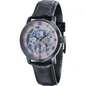 Thomas Earnshaw ES-8041-06 Westminster Classic Black & Black Leather Automatic Skeleton Watch