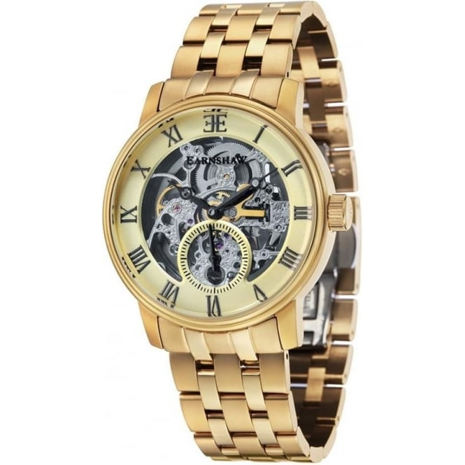 Thomas Earnshaw ES-8041-11 Westminster Classic Gold Toned Steel Automatic Skeleton Watch