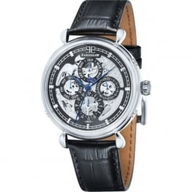 ES-8043-01 Grand Calendar Silver Multi-Fuctional Black Leather Automatic Watch