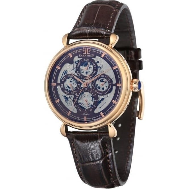 Thomas Earnshaw ES-8043-05 Grand Calendar Rose Gold Multi-Fuctional Dark Brown Leather Automatic Watch