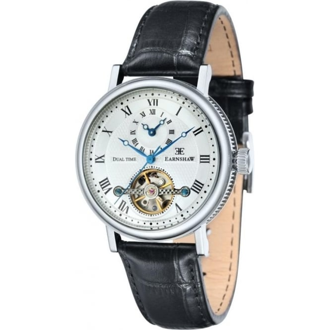 Thomas Earnshaw ES-8047-02 Beaufort Dual Time White & Black Leather Automatic Watch