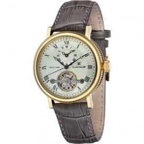 Thomas Earnshaw ES-8047-03 Beaufort Dual Time Gold & Grey Leather Automatic Watch