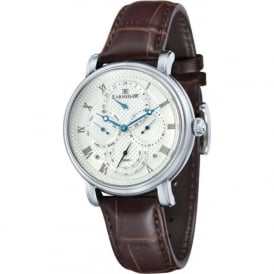 ES-8048-01 Longcase Silver Multi-Fuctional Brown Leather Watch