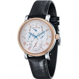 ES-8048-04 Longcase Two Toned Multi-Fuctional Black Leather Watch