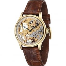 ES-8049-02 Bauer Skeleton Gold & Brown Leather Mechanical Watch