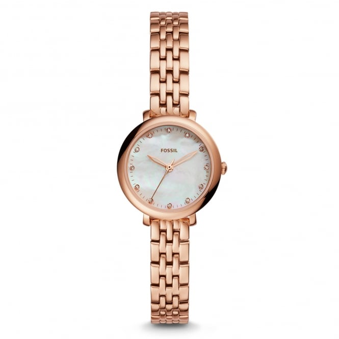 Fossil ES4031 Jacqueline Mini Mother of Pearl & Rose Gold Tone Stainless Steel Ladies Watch