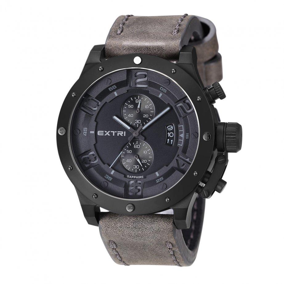 x3005c black steel grey leather mens chronograph