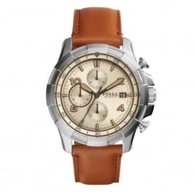 Fossil FS5130 Dean Silver & Brown Leather Chronograph Mens Watch