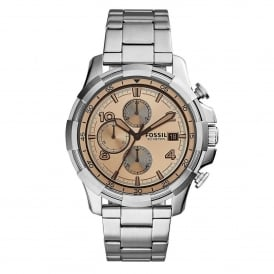 Fossil FS5163 Dean Beige & Silver Stainless Steel Chronograph Mens Watch