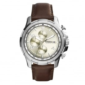 Fossil FS5114 Dean Beige & Brown Leather Chronograph Mens Watch