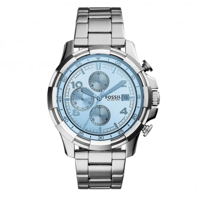 Fossil FS5155 Dean Blue & Silver Stainless Steel Chronograph Men's Watch