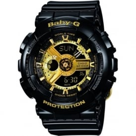 G-Shock BA-110-1AER Baby G Gold & Black Rubber Watch