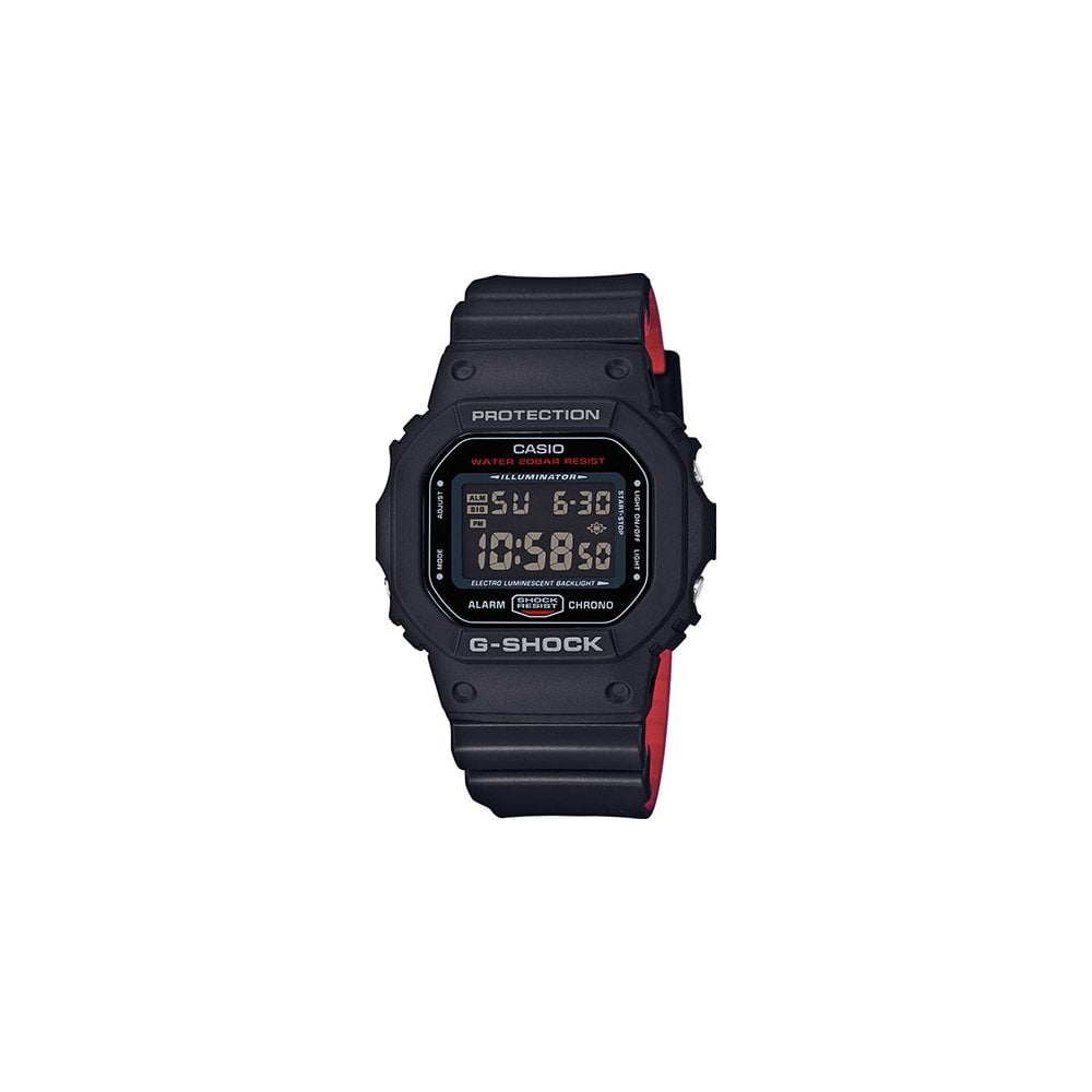 145d25b261a G-SHOCK DW-5600HR-1ER Black & Red Rubber Alarm Men's Watch