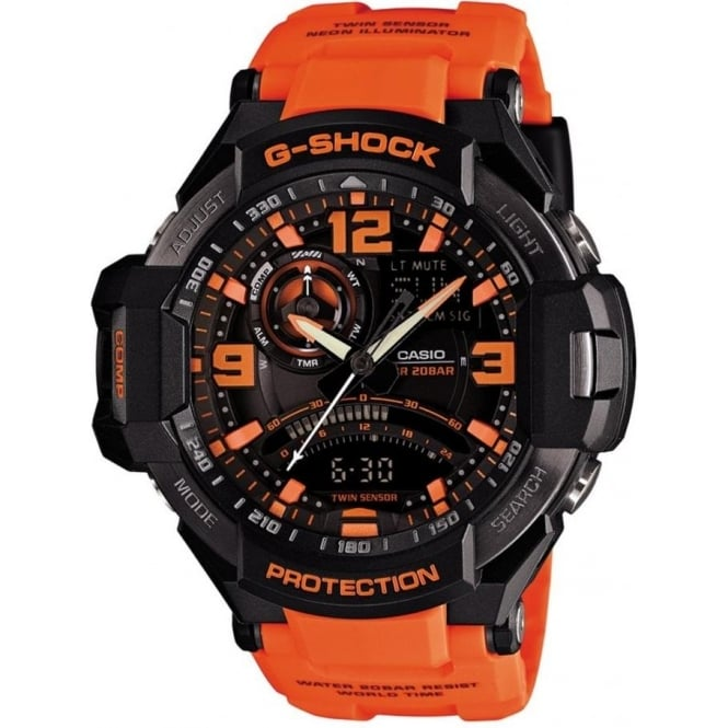 G-Shock GA-1000-4AER Black & Orange Rubber Analogue & Digital Watch