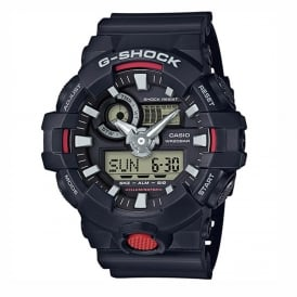GA-700-1AER Men's Black Rubber Alarm Chronograph Watch