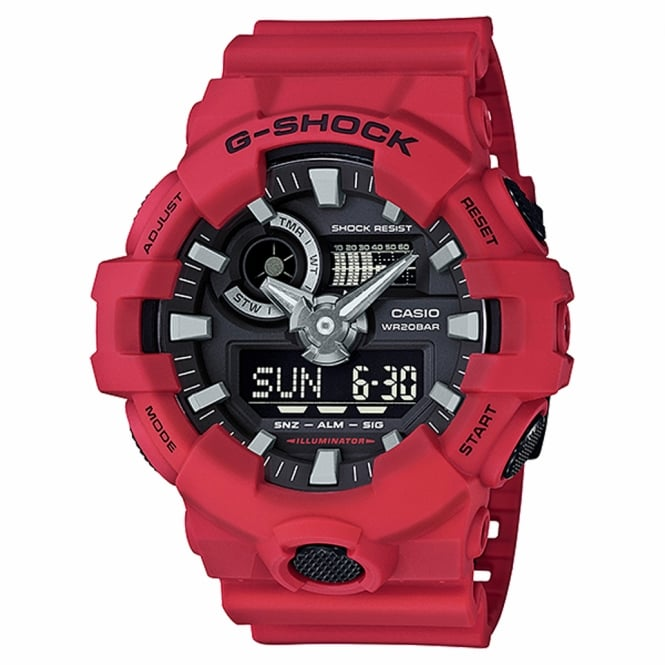 G-Shock GA-700-4AER Men's Red Rubber Alarm Chronograph Watch