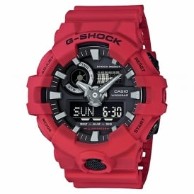GA-700-4AER Men's Red Rubber Alarm Chronograph Watch