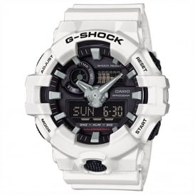 GA-700-7AER Men's White Rubber Alarm Chronograph Watch