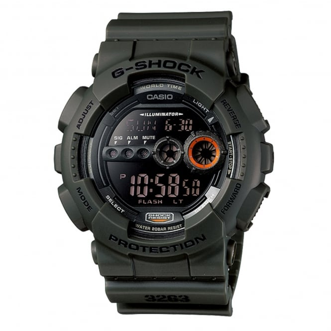 G-Shock GD-100MS-3ER Shock Resist Green Resin Digital Watch
