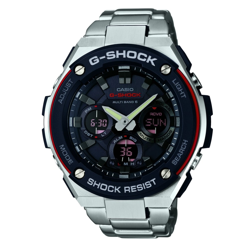 Gst W100d 1a4er G Shock Black And Silver Stainless Steel Tough Solar