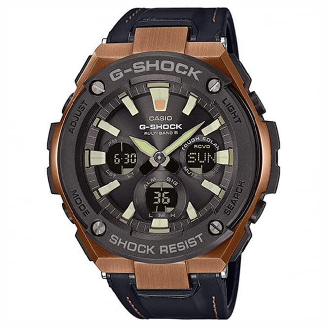 G-Shock GST-W120L-1AER Men's Leather Alarm Chronograph Watch