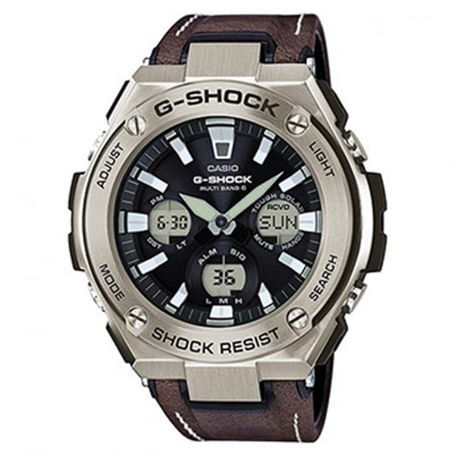 G-Shock GST-W130L-1AER Men's Brown Leather Alarm Chronograph Watch