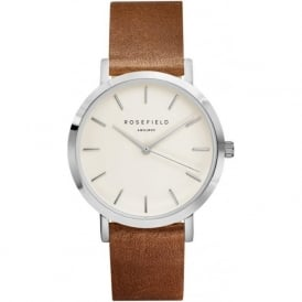 Rosefield G-W-BR-SI Gramercy Silver & Brown Leather Women's Watch