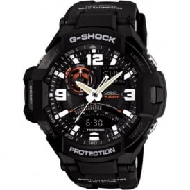 GA-1000-1AER Twin Sensor Black Rubber Analogue & Digital Watch