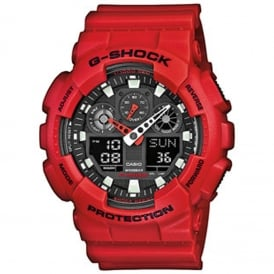 GA-100B-4AER Red Alarm Chronograph Men's Watch