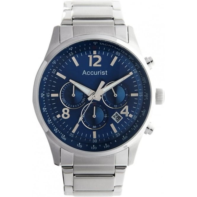 Accurist Silver Gents Chronograph Watch MB896N
