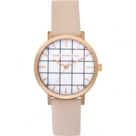 Christian Paul Watches GRL-02 Bondi Grid 35mm Rose Gold & Peach Leather Watch