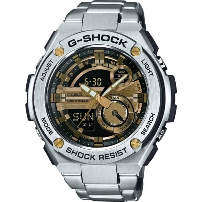 G-Shock GST-210D-9AER Silver Stainless Steel & Gold Mens Watch