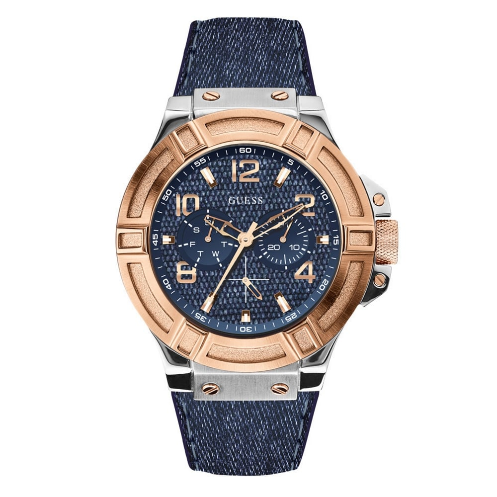 Guess W0040g6 Rigor Blue Rose Gold Men S Watch