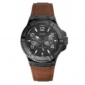 Guess W0040G8 Rigor Black & Brown Leather Mens Watch