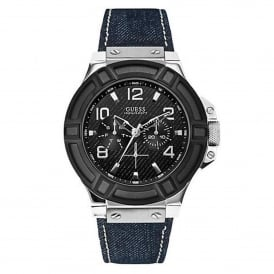 Guess W0040G9 Rigor Black & Blue Denim Leather Mens Watch