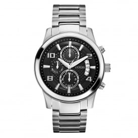 Guess W0075G1 Exec Black & Silver Stainless Steel Chronograph Mens Watch