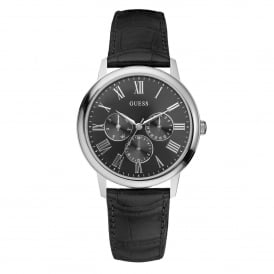 Guess W70016G1 Wafer Silver & Black Leather Mens Watch