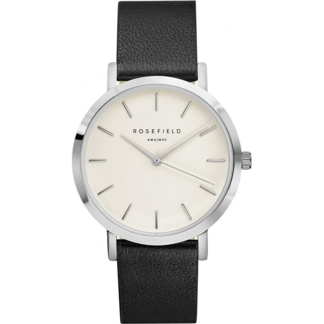 Rosefield GWBLS-G33 Gramercy Silver & Black Leather Ladies Watch