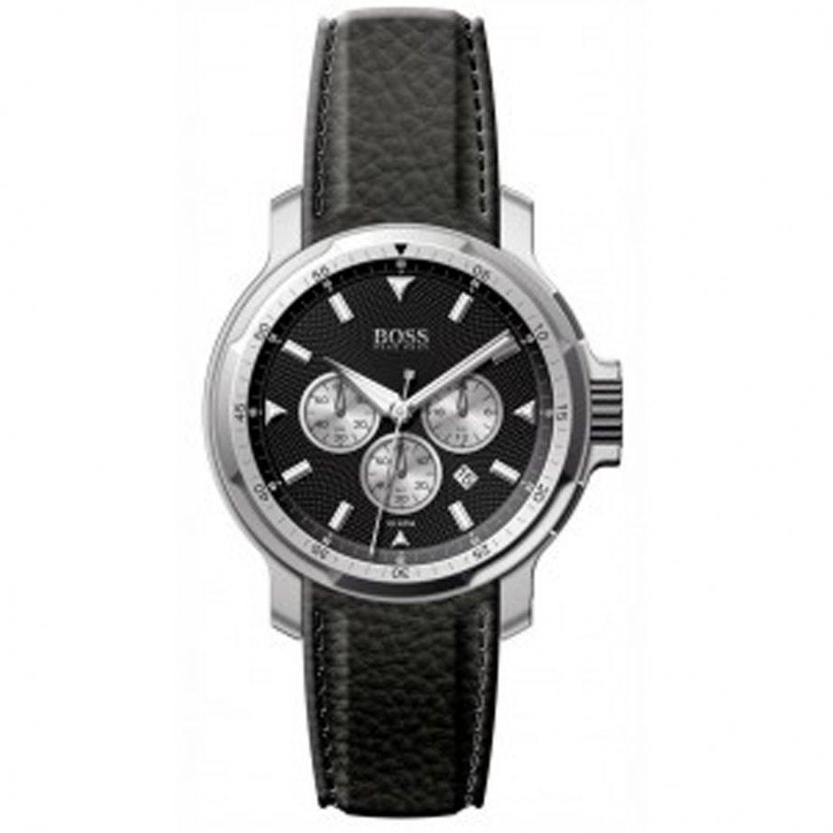 hugo boss gents black leather watch 1512158 sale hugo. Black Bedroom Furniture Sets. Home Design Ideas