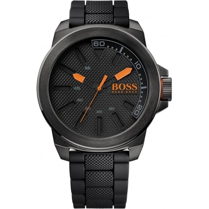 d338bea9a7209 1513004 Hugo Boss Orange New York Men s Black Silicon Watch at Tic ...