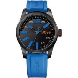 Hugo Boss Orange 1513048 Paris Men's Black Dial Blue Silicone Watch