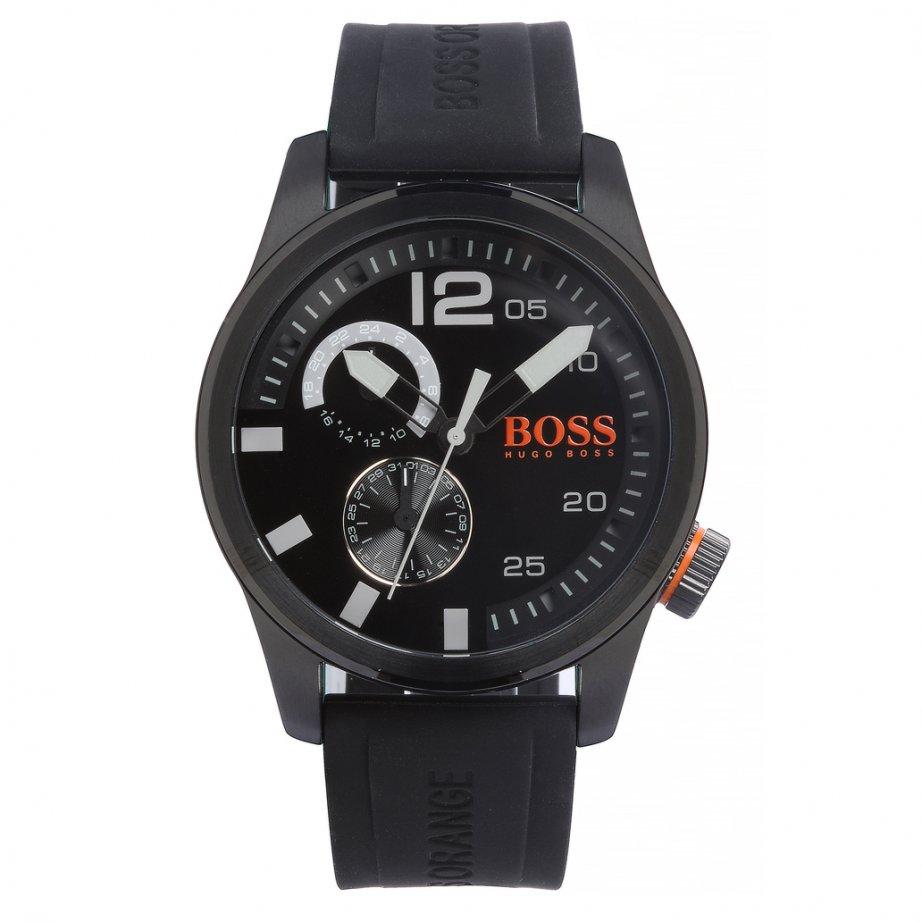 hugo boss orange 1513147 paris men 39 s black silicone. Black Bedroom Furniture Sets. Home Design Ideas