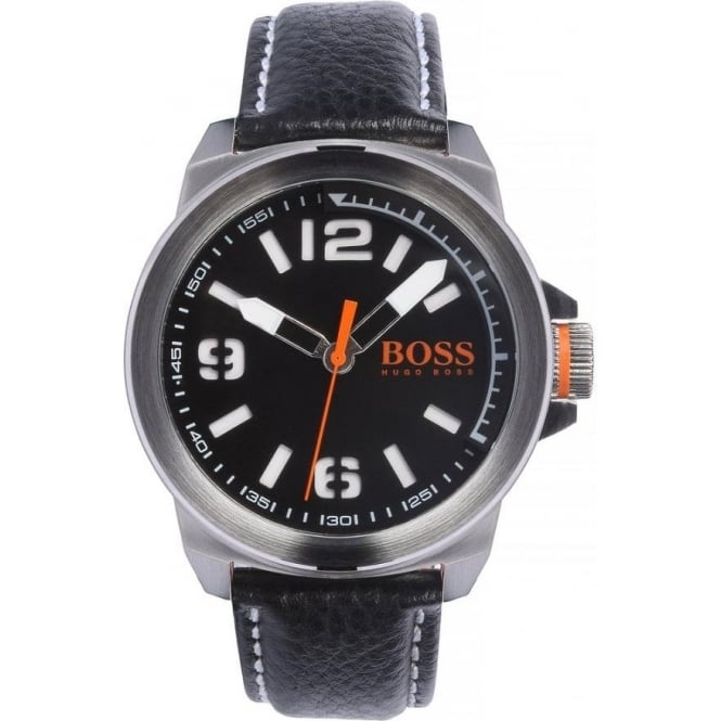 Hugo Boss 1513151 New York Men S Black Leather Watch