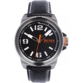 1513151 New York Men's Black Leather Watch