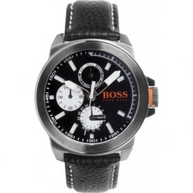 Hugo Boss Orange 1513155 New York Men's Black Leather Chronograph Watch