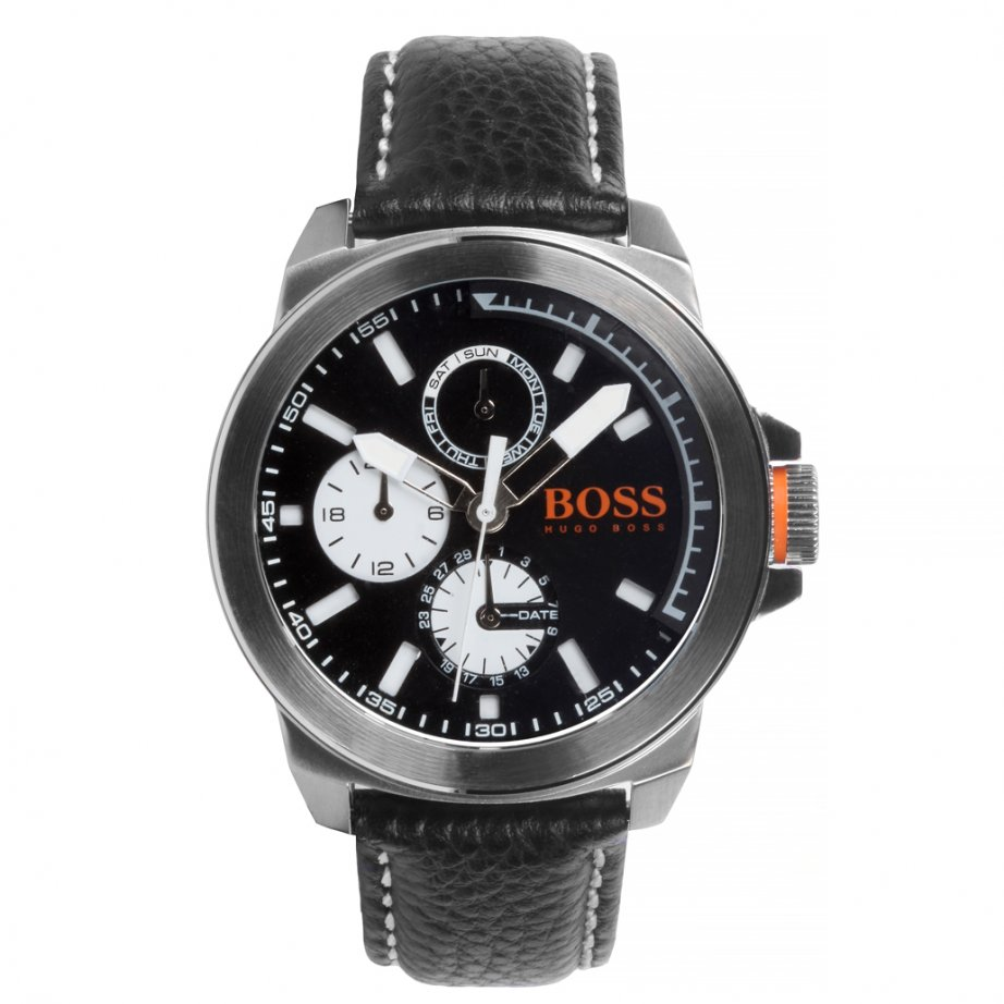 Hugo boss orange 1513155 new york men 39 s black leather chronograph watch hugo boss orange from for Hugo boss watches