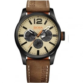 1513237 Paris Men's Cream Dial Brown Leather Chronograph Watch