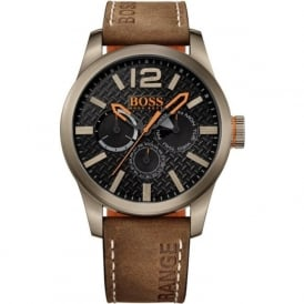 1513240 Paris Men's Black Dial Brown Leather Chronograph Watch