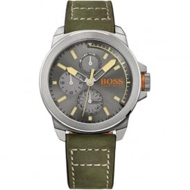 Hugo Boss Orange 1513318 Grey & Green Leather Men's Chronograph Watch